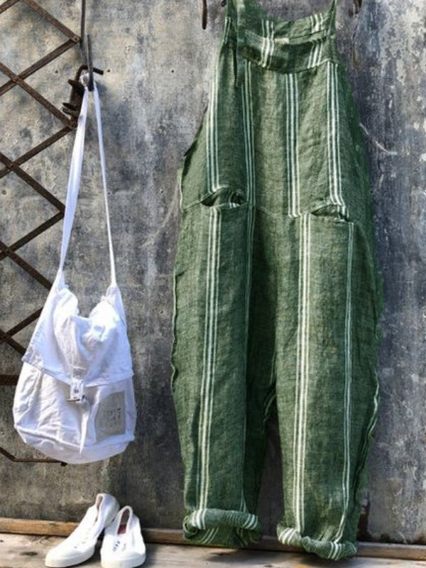Striped Casual Jumpsuits Overalls