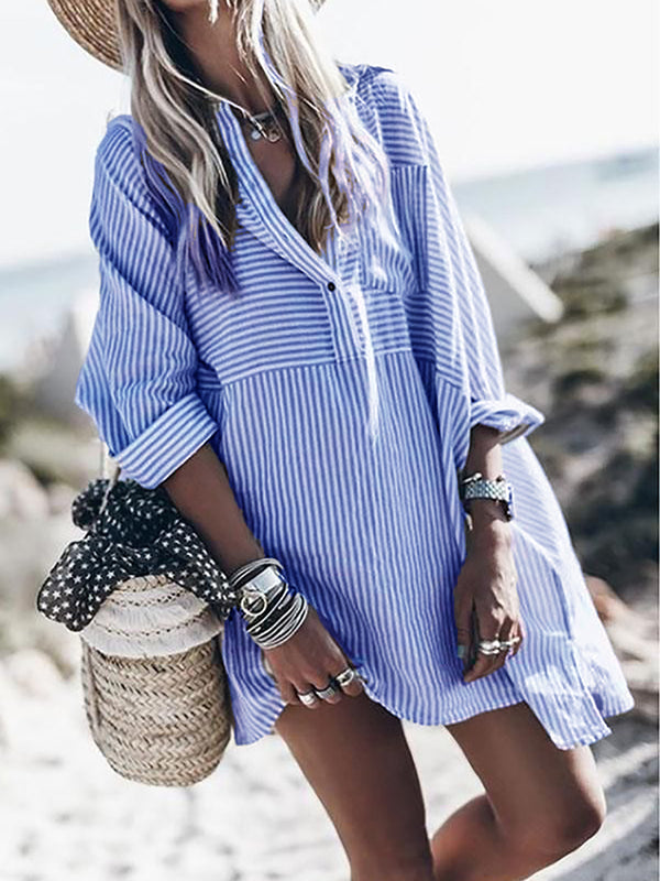 Striped Long Sleeve Tunic Blouses