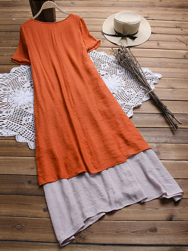 V Neck Short Sleeve Solid Linen Dresses