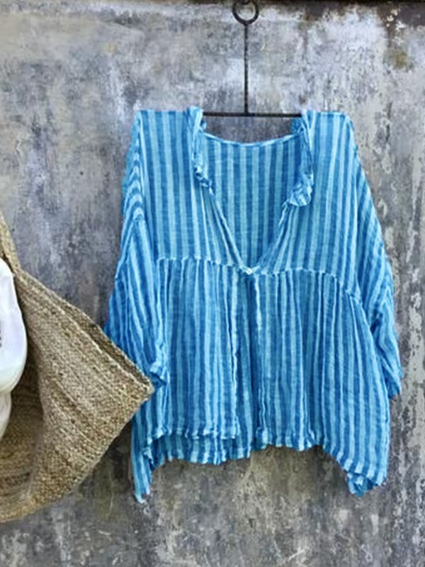 Casual 3/4 Sleeve Striped Shirts & Tops