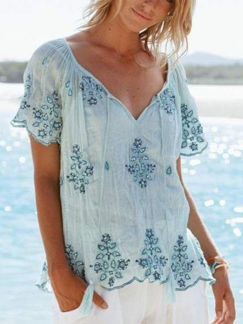 Casual V Neck Printed Shirts
