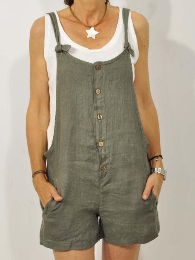 Plus Size Denim Casual Overalls Solid Sleeveless Pockets Suits Jeans