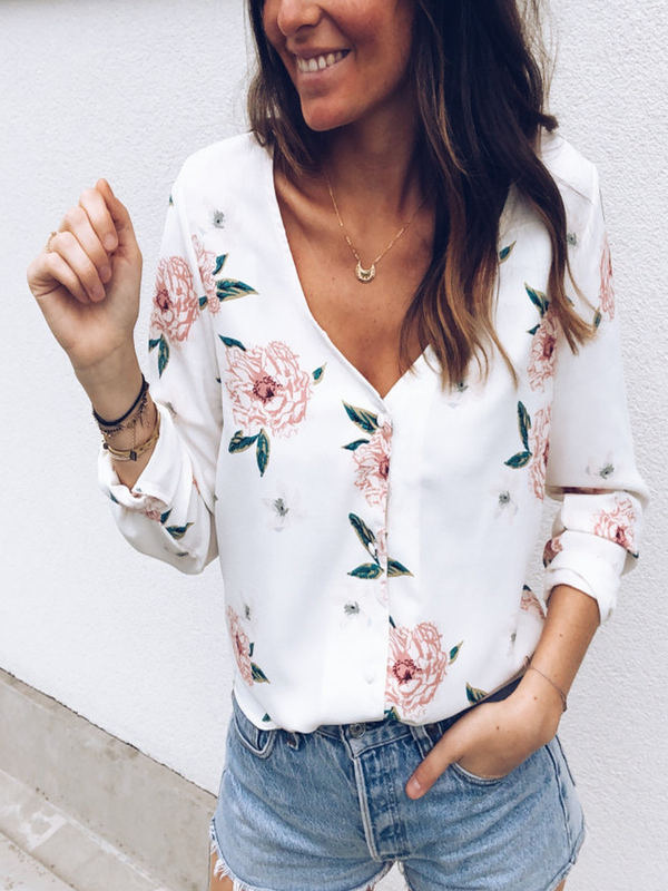 Army Green Printed V Neck Casual Floral Shirts & Tops