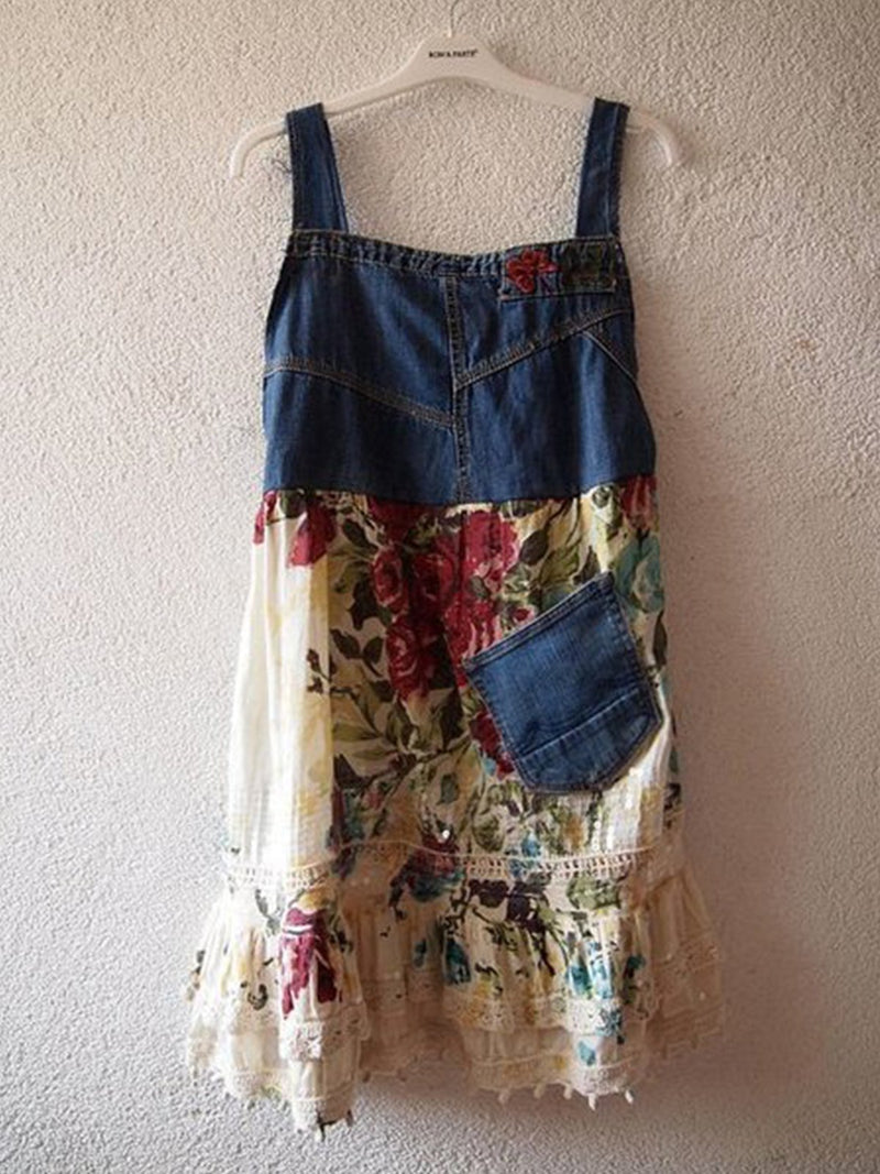 Print stitching denim dress