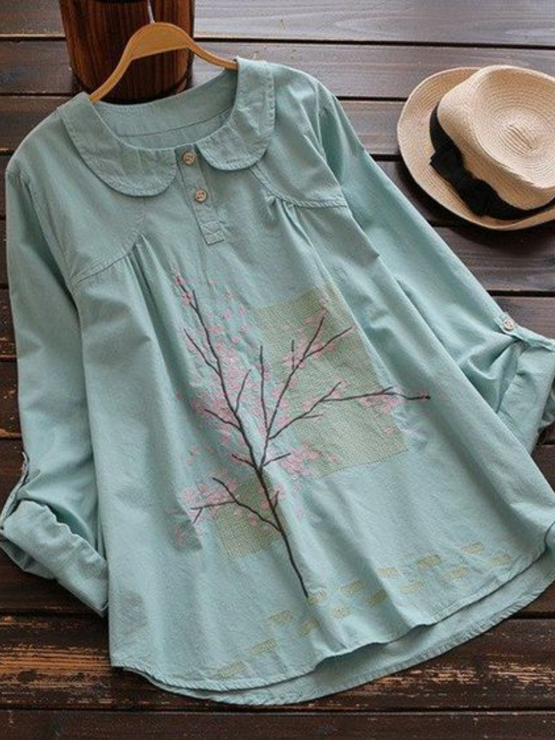 Plant Peter Pan Collar Casual Cotton-Blend Shirts & Tops