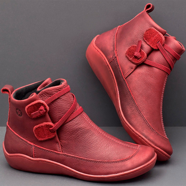 Women Casual Braided Strap Lether PU Flat Heel Boots