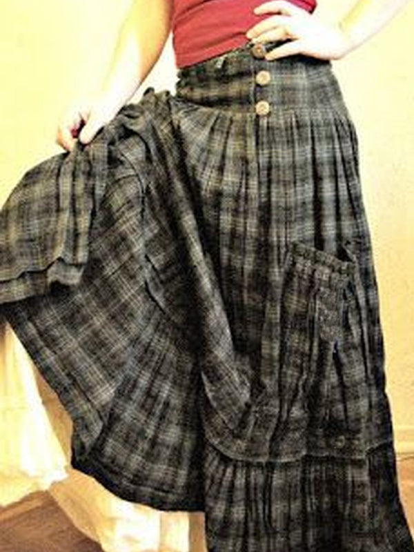 Checkered/plaid Casual Cotton-Blend Skirts