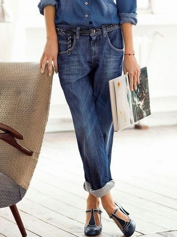 Deep Blue Pockets Casual Denim Pants