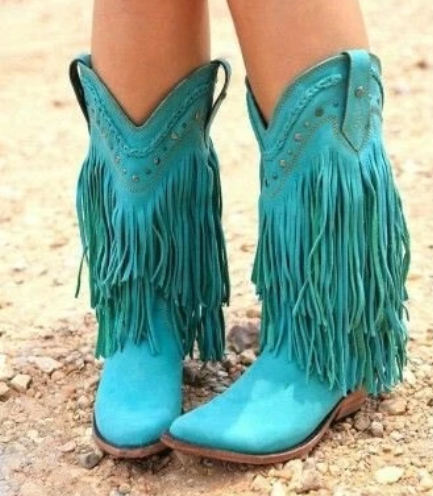 Plus Size Tassel Vintage Leather Chunky Heel Cowboy Boots