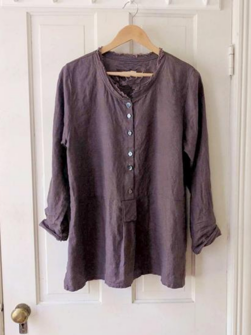 Vintage Round Neck Buttoned Shirts & Tops