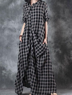 Checkered/plaid Half Sleeve Cotton-Blend Dresses