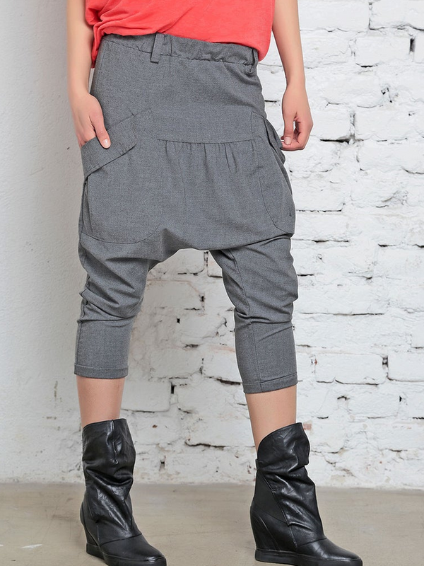 Plus Size Solid Pockets Casual Pants