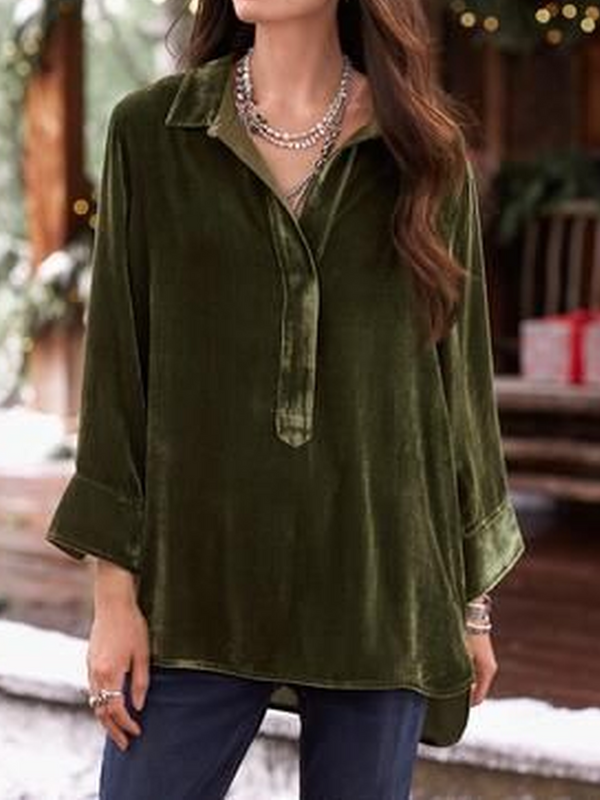 V Neck Long Sleeve Velvet Shirts & Tops