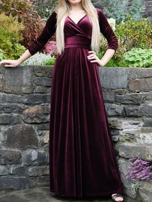 Long Sleeve Velvet Dresses