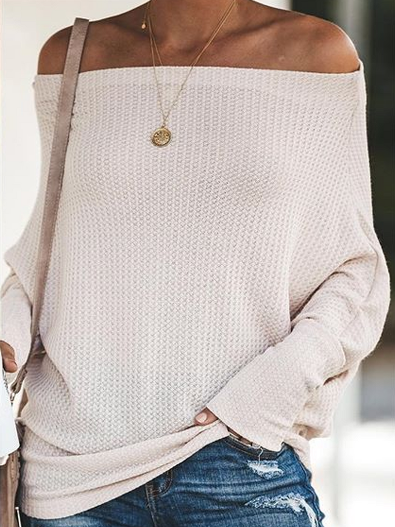 Off Shoulder Knitted Casual Sweater
