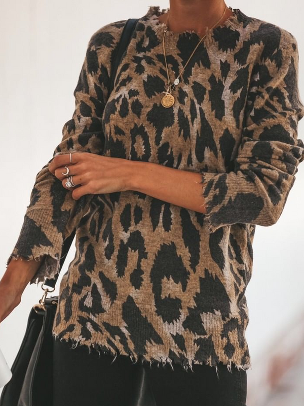 Knitted Long Sleeve Leopard Print Sweater