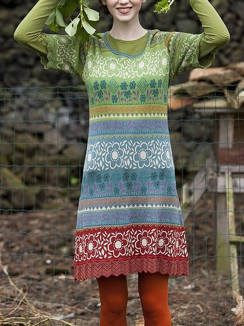 Printed Knitted Casual Dresses