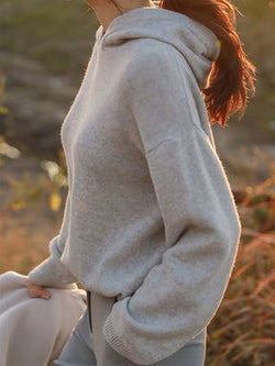 Plus Size Autumn Casual Basic Daily Long Sleeve Knitted Hoodie Top