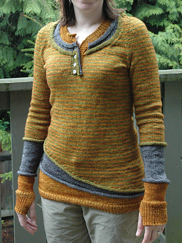 Yellow Crew Neck Casual Paneled Wool Blend Sweater