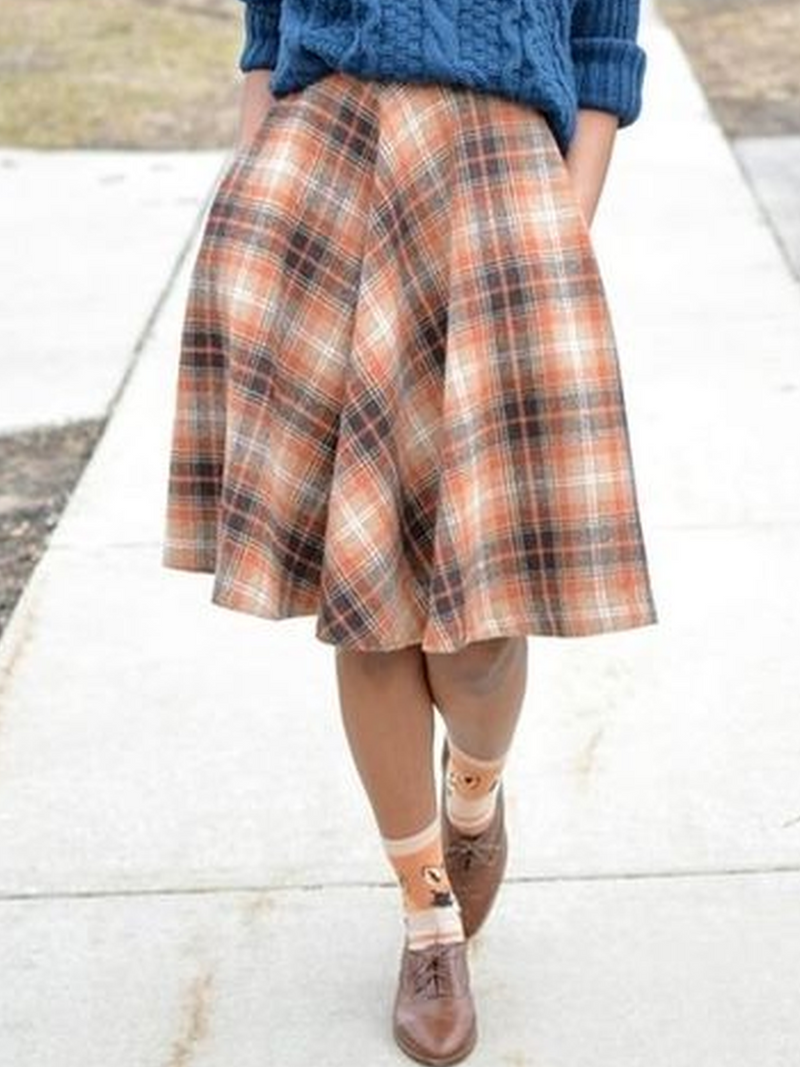 Checkered/plaid Cotton-Blend Casual Skirts