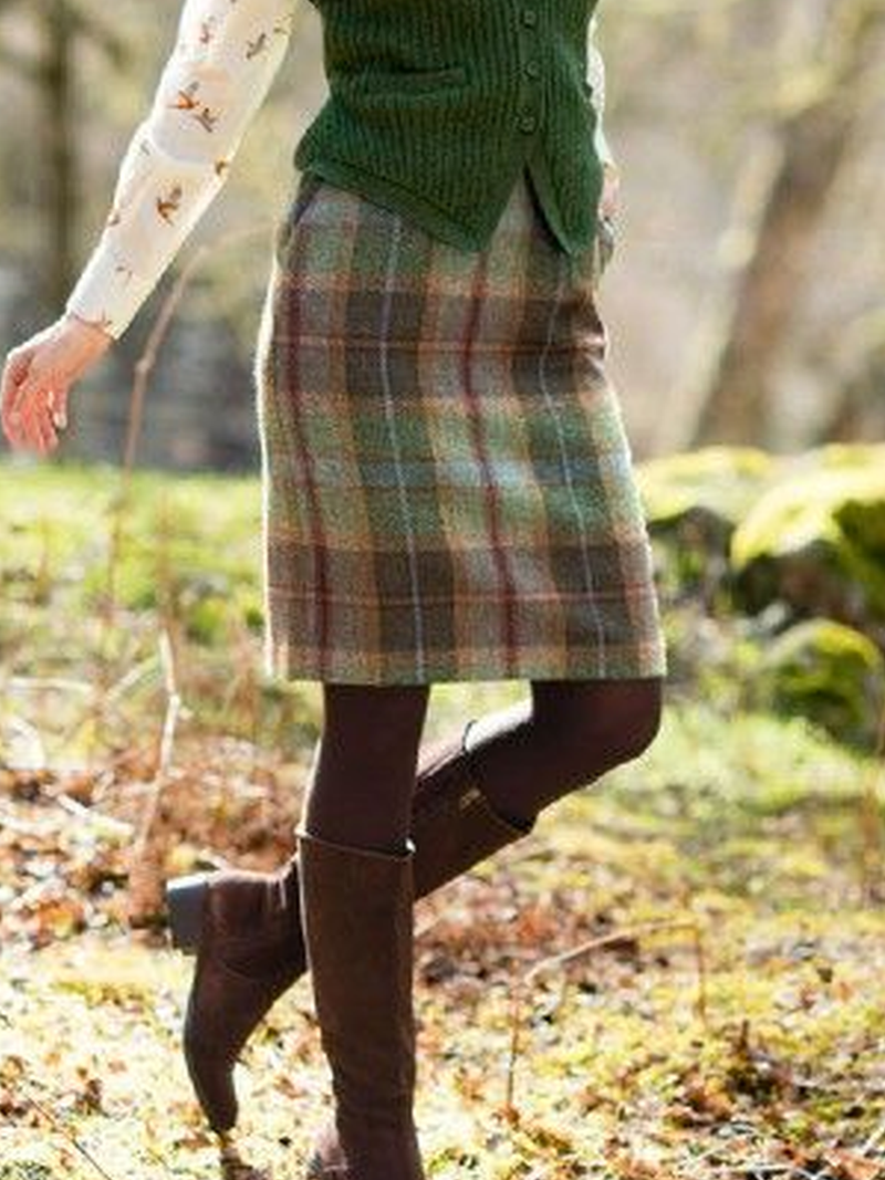 Checkered/plaid Cotton-Blend Vintage Skirts