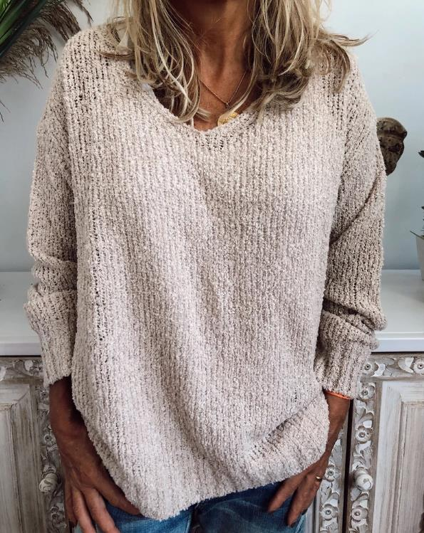 Plus Size Casual Neck Long Sleeve Knitted Sweater