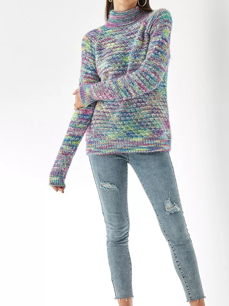 Multicolor Long Sleeve Turtleneck Knitted Sweater