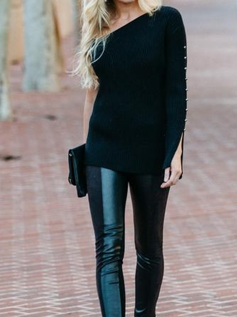 Black Long Sleeve One Shoulder Elegant Sweater