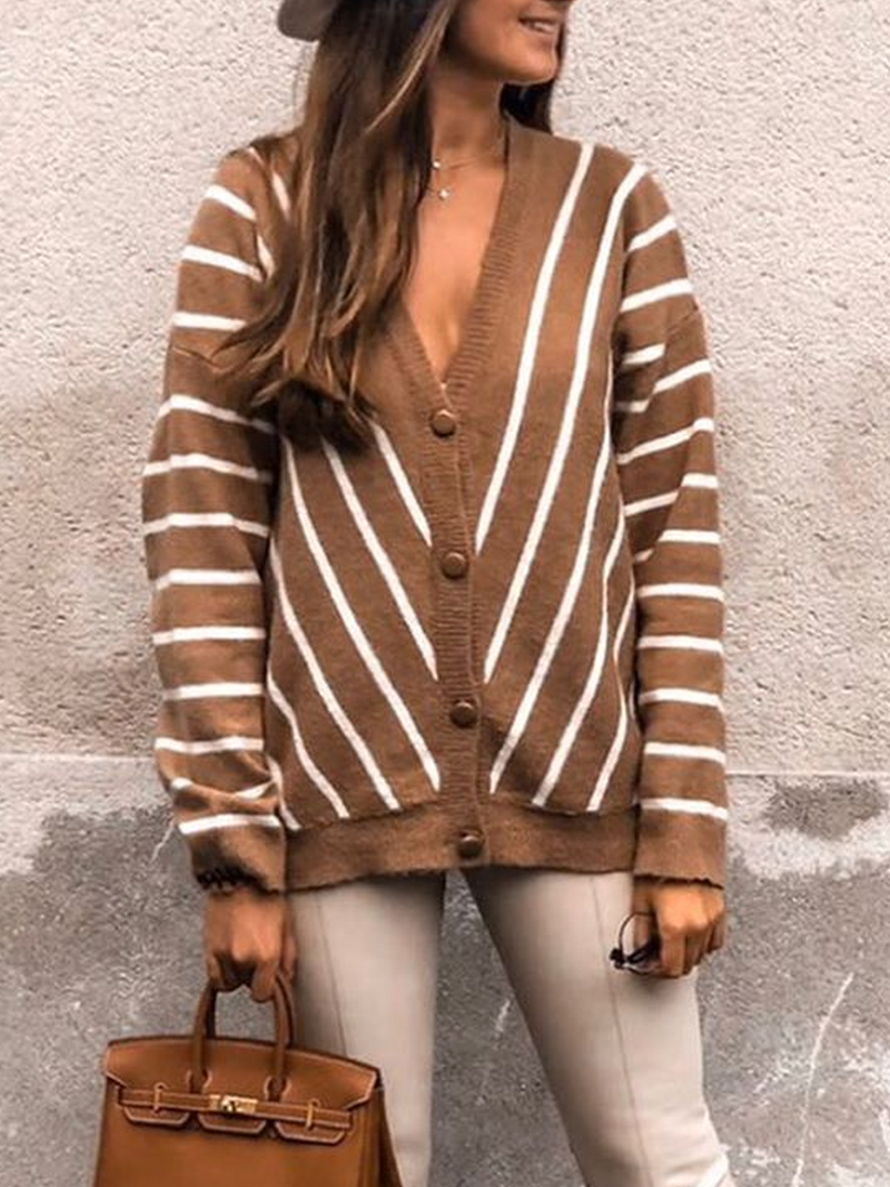 Casual Striped Outerwear