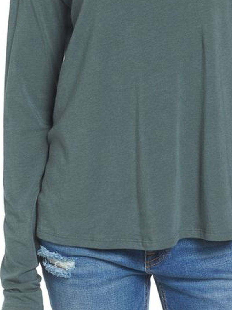 Solid Cotton-Blend Long Sleeve  Casual Shirts & Tops