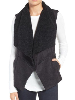 Solid Sleeveless Casual Outerwear