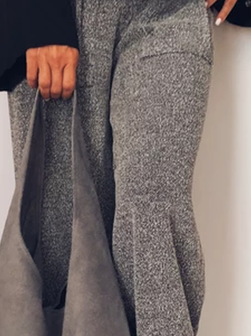 Gray Pockets Casual Solid Pants