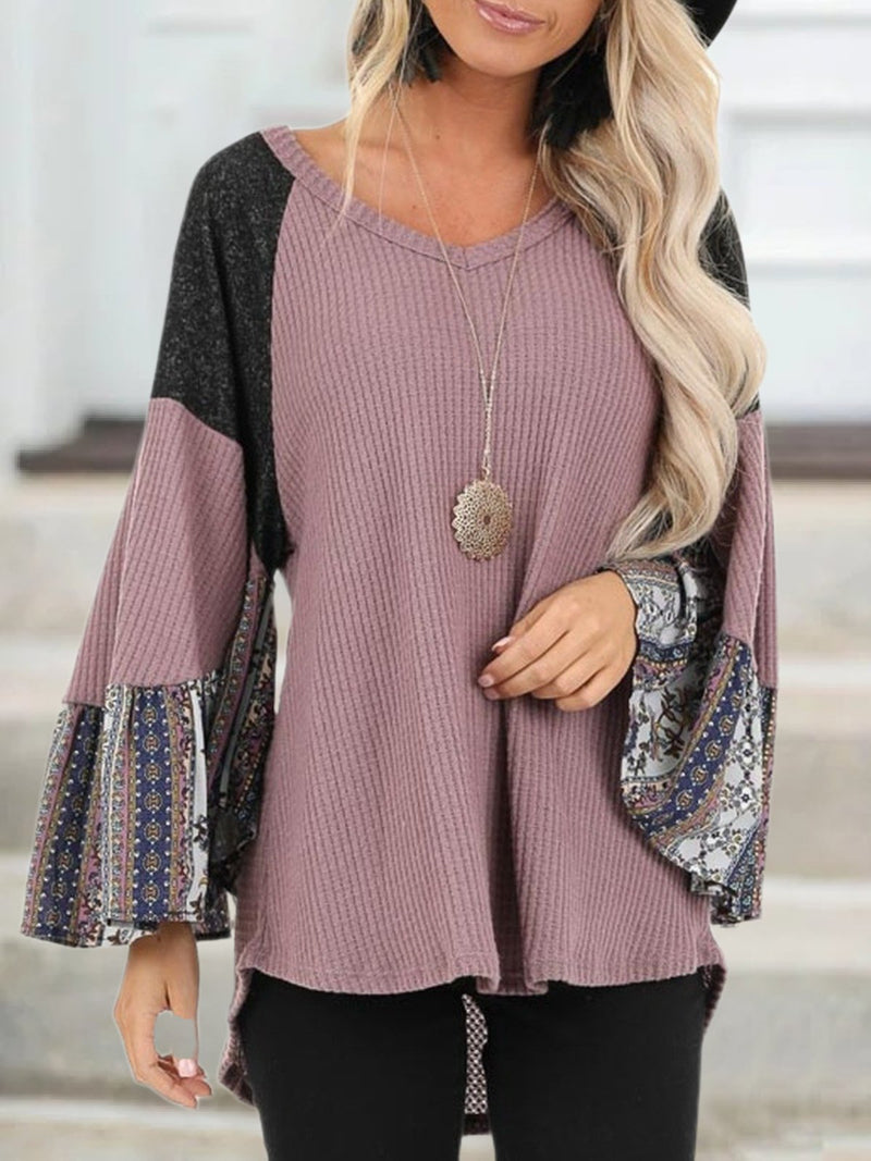 Plus Size Casual V Neck Long Sleeve Shirts & Tops