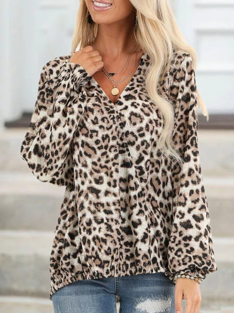 Plus Size Long Sleeve Leopard Print Casual V Neck Tops