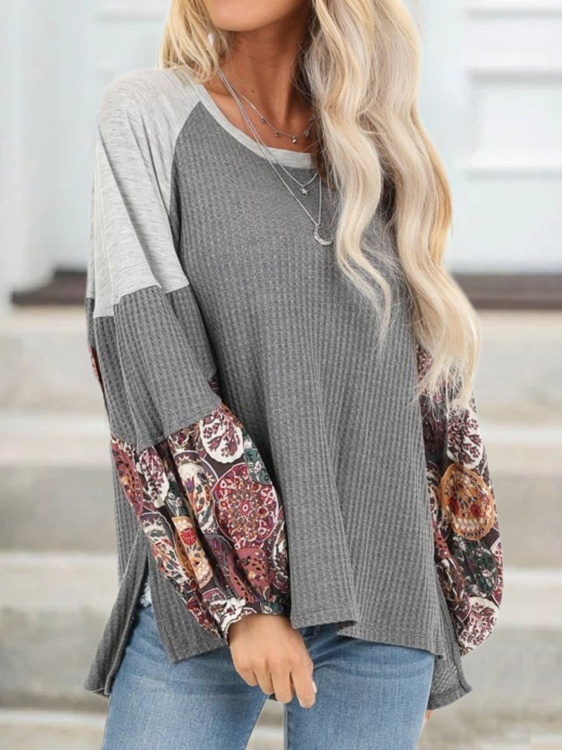 Plus Size Casual Crew Neck Long Sleeve Shirts & Tops