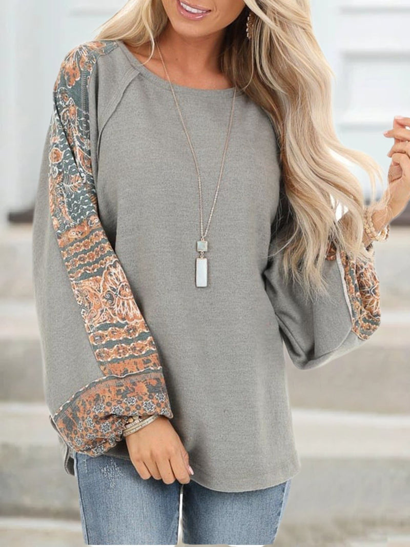 Plus Size Casual Long Sleeve Crew Neck Tops