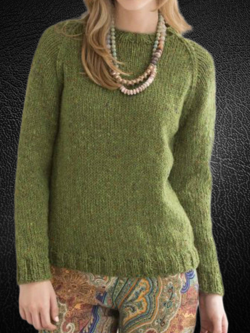 Green Round Neck Casual Solid Sweater