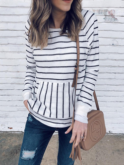 Casual Long Sleeve Stripes Shirts & Tops