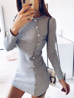 Crew Neck Solid Long Sleeve Casual Dresses