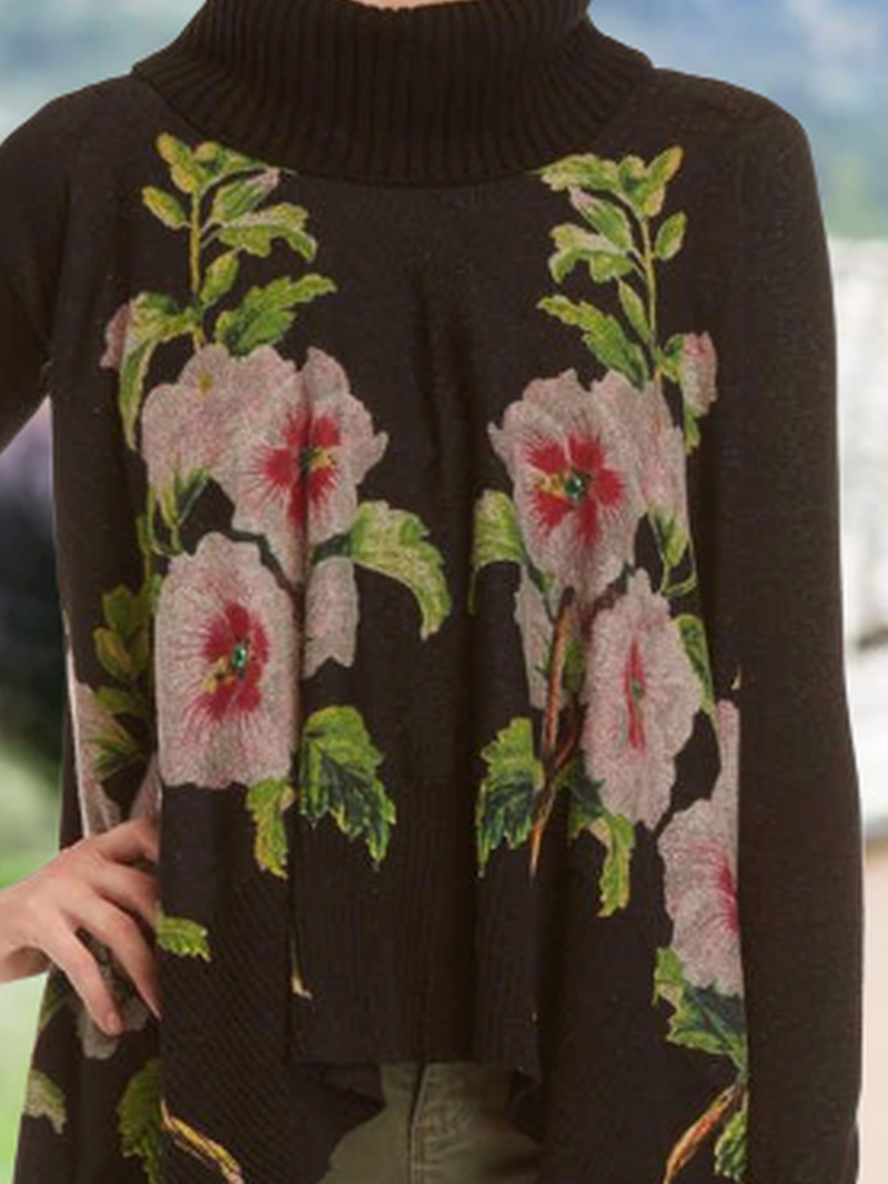 Turtleneck Casual Floral-Print Sweater