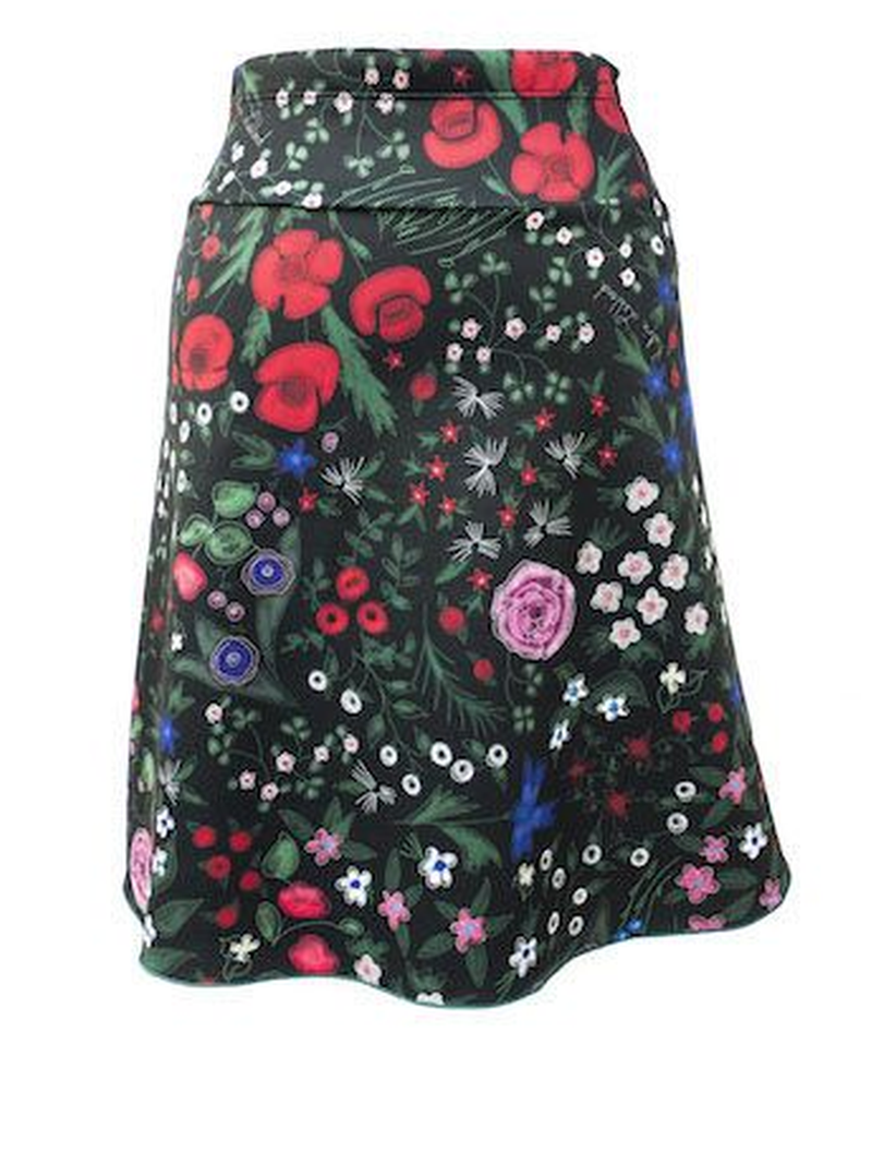 Cotton-Blend Floral-Print Casual Skirts
