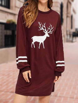 Crew Neck Wine Red Women Dresses Daily Casual Cotton-Blend Dresses