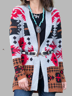Rose Red Printed Cotton-Blend Casual Outerwear