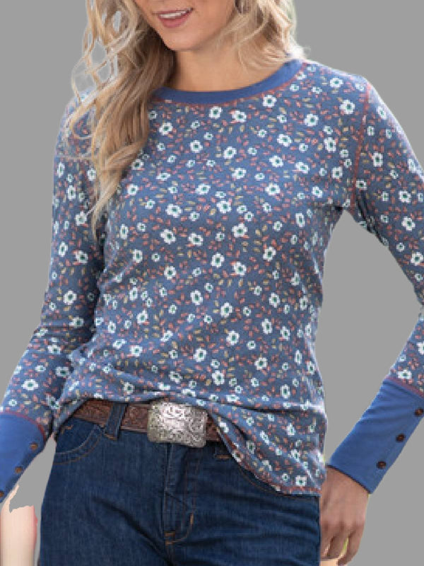 Blue Long Sleeve Casual Shirts & Tops