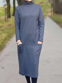 Casual Turtleneck Solid Dresses