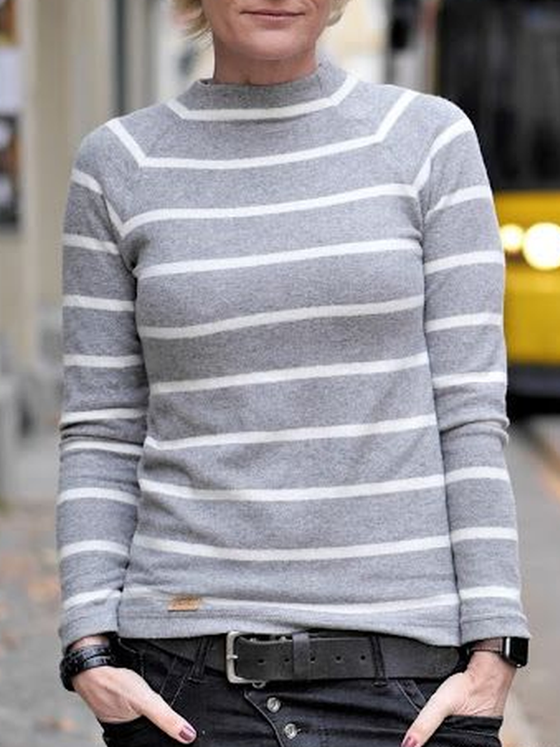 Casual Cotton-Blend Striped Sweater