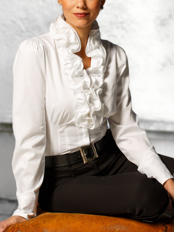 White V Neck Long Sleeve Ruffled Shirts & Tops