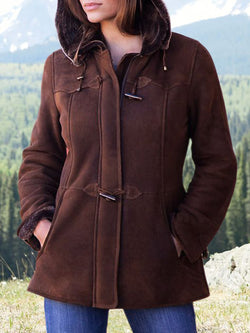 Red Brown Long Sleeve Simple & Basic Outerwear