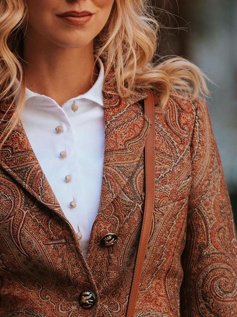 Brown Paisley Cotton-Blend Long Sleeve Paneled Outerwear