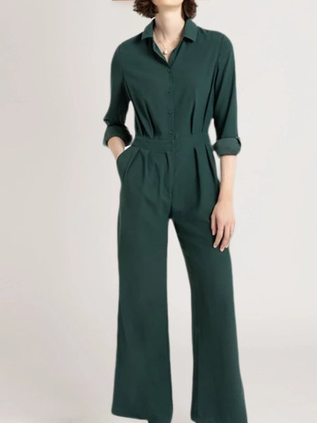 Green Long Sleeve Shirt Collar Cotton-Blend One-Pieces